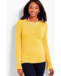 Talbots - Flounce-sleeve Crewneck Sweater - Lyst