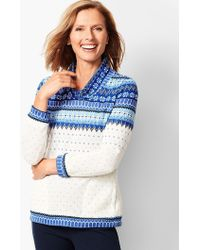 Talbots - Fair Isle Funnel-neck Top - Lyst