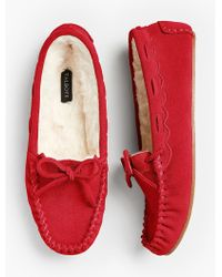 Talbots - Ruby Shearling-lined Moccasin Slippers - Lyst