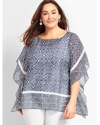 Talbots - Plus Size Exclusive Floral Scroll Poncho - Lyst
