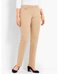 Talbots - Peached Sateen Straight-leg Pant-curvy Fit - Lyst