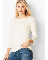 Talbots - Three-quarter Sleeve Bateau Neck Tee - Lyst