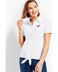 Talbots - Tie Front Polo Shirt - Lyst