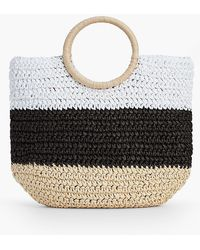Talbots - Crochet Straw Circle-handled Tote - Lyst