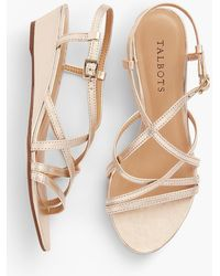 Talbots - Capri Leather Sandals - Metallic - Lyst