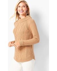 Talbots - Cotton Cable Portrait-collar Sweater - Lyst
