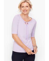 Talbots Platinum Jersey Tee Tie Neck - Purple