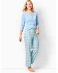 Talbots - Pajama Set - Flannel Glen Plaid - Lyst 17a72ddc9