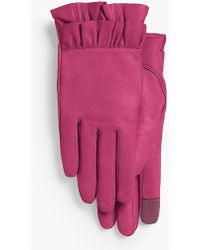 Talbots - Ruffled Leather Gloves - Lyst