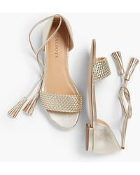Talbots - Keri Tasseled Ankle-strap Sandals - Gold - Lyst