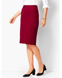 Talbots - Ponte Scallop Wrap Pencil Skirt - Lyst