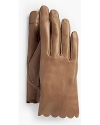 Talbots - Scalloped Leather Touch Gloves - Lyst