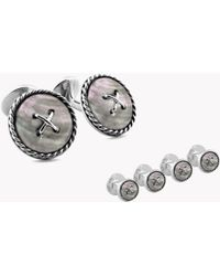 Tateossian - Cable Button Double Ended Silver Shirt Stud Set In White Mother Of Pearl - Lyst