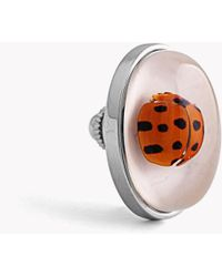 Tateossian - Ladybug Pin In Resin On White Mother Of Pearl - Lyst