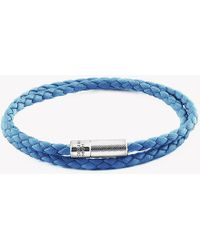 Tateossian - Double Wrap Pop Rigato Leather Bracelet With Silver Clasp - Lyst