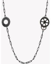 Tateossian - Double Gears Silver Necklace - Lyst