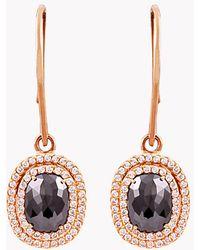 Tateossian - 18k Rose Gold Black Diamond Vintage Drop Earrings - Lyst