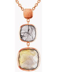 Tateossian - 14k Rose Gold Belgravia Drop Necklace With Black And Gold Rutilated Quartz - Lyst