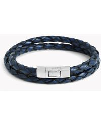 Tateossian - Double Wrap Scoubidou Bracelet In Blue Leather With Silver Click Clasp - Lyst