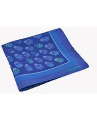 Tateossian - Skull Patterned Silk Pocket Square In Blue - Lyst