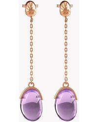 Tateossian - 18k Rose Gold Mayfair Long Earrings With Amethyst - Lyst