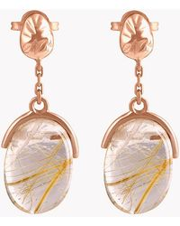 Tateossian - 18k Rose Gold Mayfair Short Earrings With Gold Rutilated Quartz - Lyst