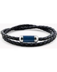 Tateossian - Montecarlo Bracelet In Navy Leather With Silver And Enamel Clasp - Lyst