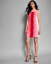 99515818804 Ted Baker Crystal Droplets Skater Dress in Natural - Lyst