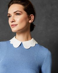 Ted Baker - Scallop Collar Mock Shirt Sweater - Lyst