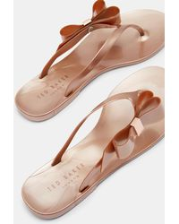 4a509443076d2a Lyst - Ted Baker Bow Flip Flops in Natural