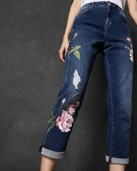 Ted Baker - Floral Embroidered Boyfriend Jeans - Lyst