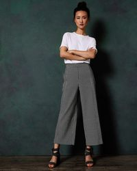 Ted Baker - Printed Cropped Wide Leg Trousers - Lyst