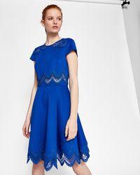 Ted Baker - Rehanna Embroidered Cap Skater Dress (mid Blue) Women's Dress - Lyst