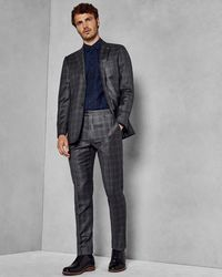 Ted Baker - Slim Fit Checked Wool Trousers - Lyst