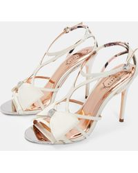 16eac141082 Lyst - Ted Baker Cimaa Leather Barely There Heeled Sandals in White