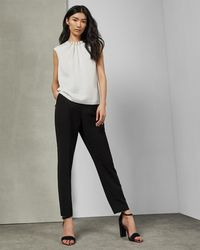 d276ca059c940 Ted Baker Camble Folded Pearl Neck Top in Black - Lyst
