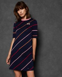 Ted Baker - Striped Knit Dress - Lyst