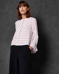 73ad55ccec914c Ted Baker Colour By Numbers Sassa Tie Neck Top in Black - Lyst