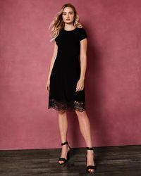 63a82c09ee Ted Baker Layered Lace Skater Dress in Pink - Lyst