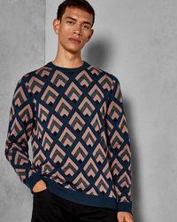 Ted Baker - Geo Jacquard Wool Sweater - Lyst