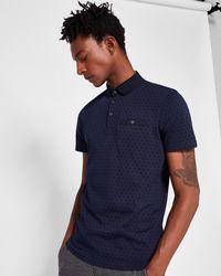 Ted Baker - Spot Print Cotton Polo Shirt - Lyst
