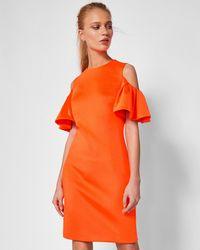 Ted Baker - Dramatic Cold Shoulder Dress - Lyst