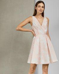 Ted Baker - Embroidered full skirt mini dress - Lyst