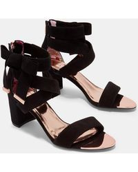 Ted Baker - Suede Bow Detail Strappy Sandals - Lyst
