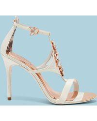 Ted Baker - Embellished Strap Satin Sandals - Lyst
