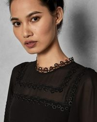 Ted Baker - Embroidered Volume Sleeve Dress - Lyst