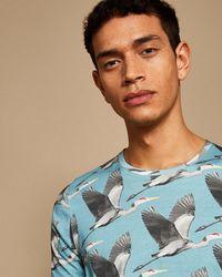 Ted Baker - Men's Flute Bird Print Cotton T-shirt - Lyst