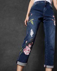 Ted Baker Floral Embroidered Boyfriend Jeans - Blue