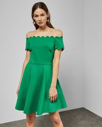 Ted Baker Bardot scallop skater dress - Verde