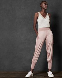 Ted Baker - Satin Jogger With Knit Trim - Lyst